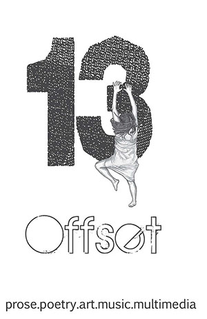 Offset 13 cover showing a drawing of a girl in a dress climbing at the 3 of number 13